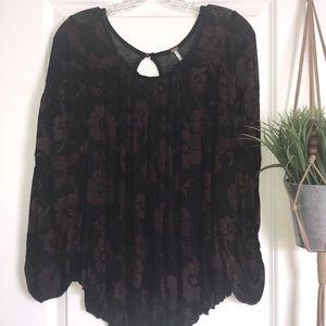 Free People black floral long sleeve top